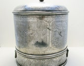 LARGE Chinese PAKTONG Export Silver Colour Rare Antique Food Basket Steamer Warmer Lidded Caddy Pot Dish Lid Box 19thcentury