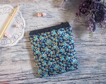 Square Coin Purse / Make up bag Blue Flowers