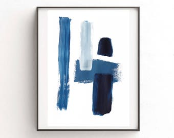 Abstract digital print, blue painting, digital download print, abstract printable, blue  watercolor, minimalist art, printable art, indigo
