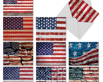 M2013 Flag Day: 10 Blank Note Cards with Assorted Designs for Any Occasion ft. , w/ White Envelopes. Best Card Company // notecard set
