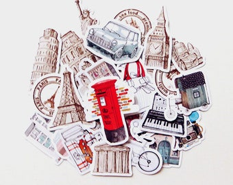 Wanderlust (29 pcs) // Die Cut Stickers // N35 // Planners //  Laptop Stickers  // Scrapbooking Essentials