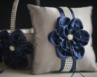 Gray Navy Wedding Basket + Navy Ring Bearer Pillow \ Navy Flower Girl Basket + Gray Navy Bearer \ Navy Wedding Pillow \ Navy Blue Basket