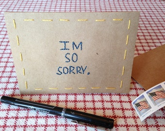 Embroidered SYMPATHY CARD / Hand embroidered card / I'm Sorry card / Handmade card  / Notecards / Paper goods / Kraft paper / Free shipping!