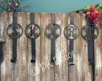 Metal Monogram Wreath Holder   Wreath Hanger   Door Hanger   Customized Wreath  Hanger   Steel