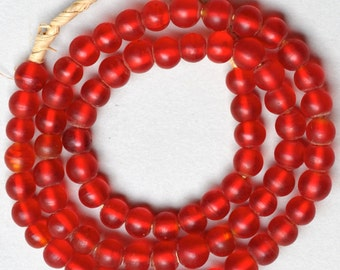 9mm Red European Glass Padre Beads - Vintage African Trade Beads - 25 Inch Strand
