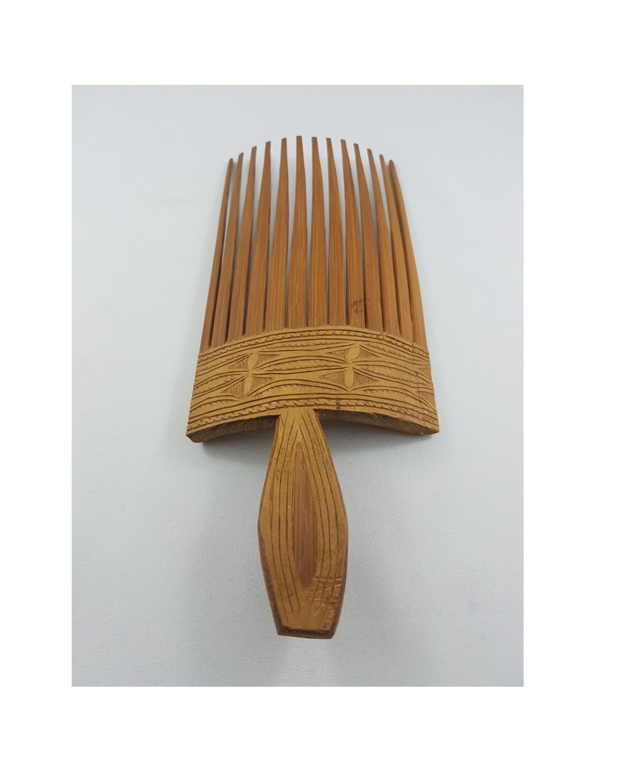 vintage oriental bamboo hair comb, bamboo hair brush, vintage
