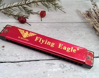 Vintage Harmonica, Flying Eagle Harmonica, Red M. Brother Harmonica
