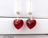 January Birthstone Earrings Red Earrings crystal Jewellery January Gifts Sterling Silver Earrings Heart Earrings
