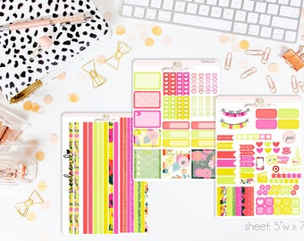 Mai Tai HORIZONTAL Weekly Kit // 130+ Matte Planner Stickers // Perfect for your Erin Condren Life Planner // WKH0130