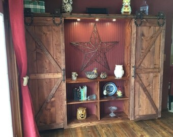 Rustic Farmhouse barn door media cabinet or dining room hutch