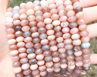 Sunstone Beads, Faceted Sunstone Beads, 8mm Sunstone, 5mm Sunstone, Rondelle Sunstone, Faceted Roundelle, Sunstone Gemstone Beads, GE067