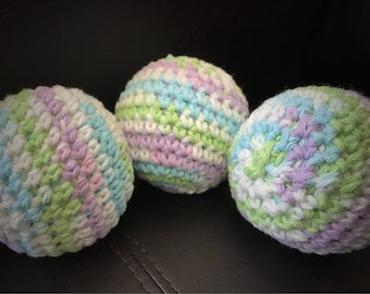 Dryer Balls Scented with Pure Essential Oils, 3 Dryer Balls w Bottle of Essential Oil, Naturally Soften, Crocheted Cotton Balls, No Filler
