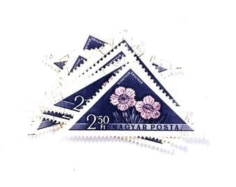 10 x Floral Pink and Blue Triangle Vintage Postage Stamps from Hungary - Used - Flowers - for crafts, mail art, card making, scrapbooking