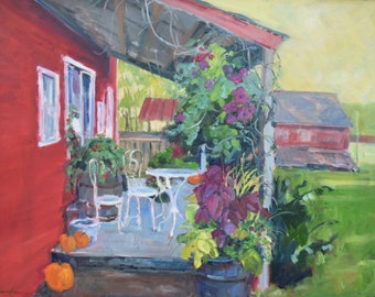 Americana, Large Oil Painting, Front Porch