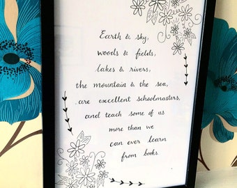 Custom lettering and illustration, custom quote, original art, hand lettered, pen & ink, favourite quote, modern art, wall art, wall decor