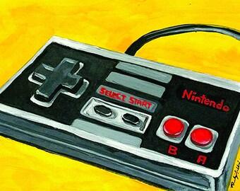 A3 Original Art Poster, Yellow Wall Hanging Decor, Geeky Nintendo Vintage Game Controller Painting Print