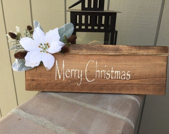 Rustic Christmas Winter Wood Hand Painted Sign with Twine, Leaves, pointsetta, wooden sign, Christmas wall decor, Merry Christmas