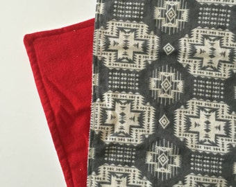 Grey kilim Aztec tribal burp cloth set