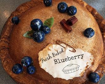 blueberry pie - primitive blueberry pie - fake pie - blueberries