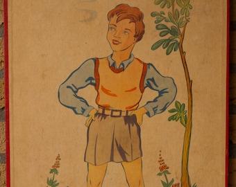 Vintage ancien imprimé sur carton garçon avec un pantalon court tableau Lithographie