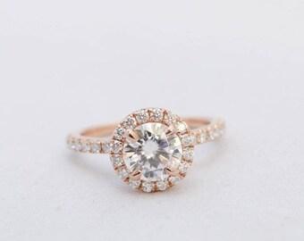 Halo Engagement Ring, Moissanite Ring, Gold Engagement Ring, Wedding Ring, Diamond Ring, Rose Gold Ring