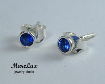 Synthetic Sapphire Silver or Gold Studs, Blue 3mm Corund Earrings, Simulate Sapphire, Tiny Man Made Sapphire Blue Earrings, Sapphire Studs