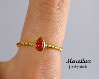 Gold Spessartine Garnet Twisted Ring, 5x3 mm Pear Cut Simulate Spessartite Braided 24K Gold Filled Silver Ring, Red CZ Stackable Rope Ring