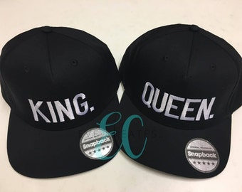 King Queen Fashion Embroidered Snapback Cap Pair Hip-Hop Hats Tumblr Clothing
