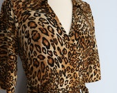 Super Sexy Classic Leopard Wrap Dress With Half Sleeve V-neck Collar Size Medium