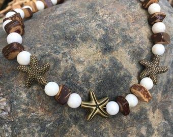 Boho Anklet, Beach Anklet, Starfish Anklet, Beaded Anklet, Hippie Anklet, Ankle Bracelet, Anklet