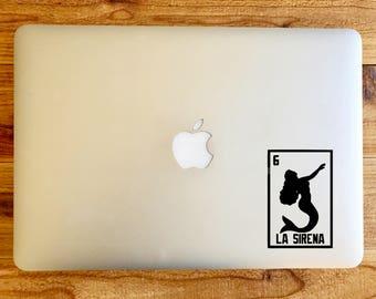 La Sirena the mermaid loteria sticker decal for macbook mac laptop