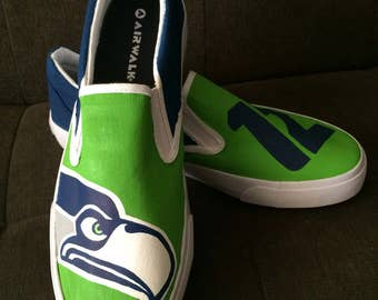 SEATTLE SEAHAWKS shoes - hand painted