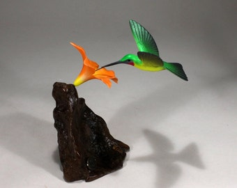 Hummingbird Sculpture New Direct from John Perry 7in Tall Orange Flower