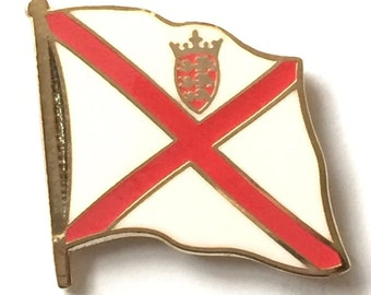 Jersey National Flag Gold Plated Enamel Lapel Pin Badge