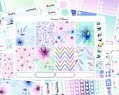 Watercolor Flower Weekly Set or Singles (matte planner sticker, fits perfect in Erin Condren Life Planner Vertical)