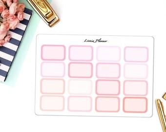 Pink Half Boxes Functional Basics (matte planner stickers, Erin Condren, Happy Planner)