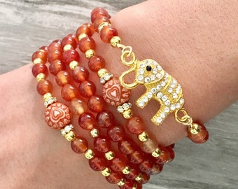 Mala beads/108 Prayer Beads/Gift for her/yoga/om/mala bracelet/carnelian/elephant jewelry/healing jewelry/gemstone beads/meditation/mantra