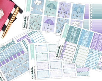 A La Carte April Showers Weekly Kit for ECLP Vertical Planner Stickers