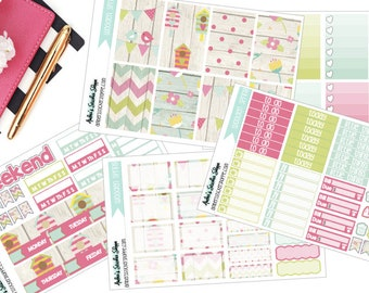 Wooden Spring Weekly Kit for Happy Planner Planner Stickers