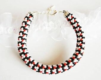 """Beaded crocheted bracelet """"Caprice"""", Bead crochet rope bracelet, Elegant seed bead bracelet, Geometric Beadwork bracelet, Beaded bracelet"""