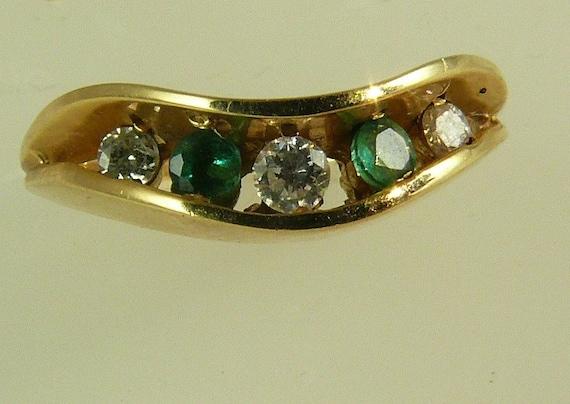 Emerald 0.08ct & Diamonds 0.10ct Ring 14k Yellow Gold