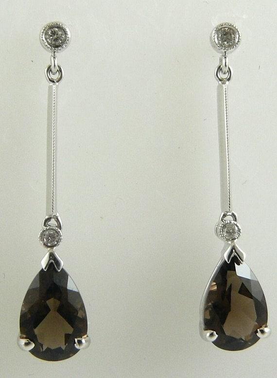 Smokey Topaz 2.38ct Earring with Diamonds 0.07ct 14k White Gold