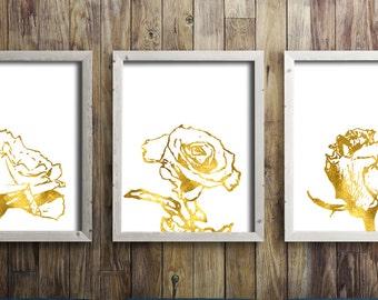 Flower Printable Art Set of 3 Gold White Rose Prints Wall Home Decor Botanical Digital Art / Instant Download