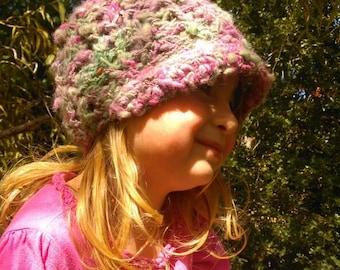 Child's winter hat beanie made from handspun hand dyed Alpaca yarn