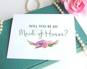 Will You Be My Maid of Honor Card, Floral Maid of Honor Proposal Card  - Bridal Party Card, Bridesmaid Gift Box Card