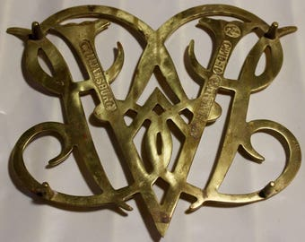 Colonial Williamsburg Trivet Brass Queen Ann Cypher 1950