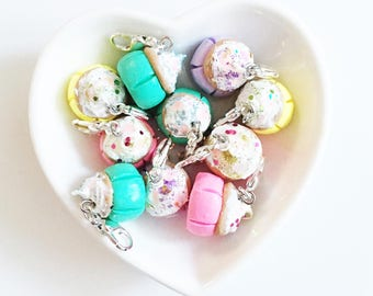 Pastel Glitter Cupcake Polymer Clay Charms