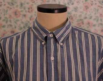 Vintage Blue and White Striped Dress Shirt