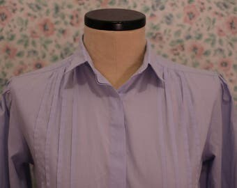 60s Powder Blue Pleated Dress Shirt