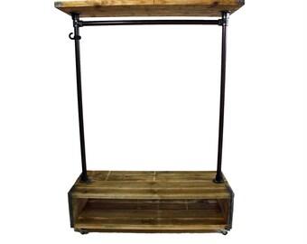 Vorhut 'Barnoldswick Tallboy' - Vintage Industrial Scaffold Board Clothes Rail, Double Shoe Rack & Top Shelf